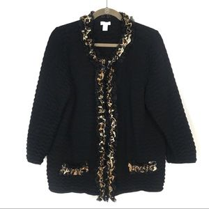 Chico's Leopard Print Ruffle Trim Cardigan Sweater